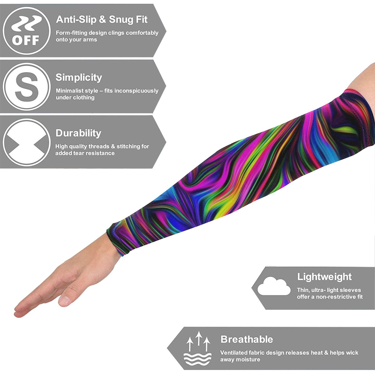 NOISYDESIGNS Art Purple Colorful Design Arm Sleeves Warmers Sports Sleeve Sun Protection Hand Cover Warmer Mangas Para Brazo