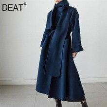 Woolen Jacket Collar Office Lapel Elegant Autumn Winter Fashion Women's New DEAT Solid