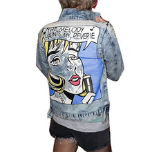 купить RUGOD 2019 Vintage letter Print Jean Jacket Women Fashion Ripped Hole turn-down collar Bomber Jackets female casual Denim Jacket дешево
