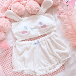 Image 3 - OJBK Pink And White Kwaii Velvet Tube Top And Panties Set For Girls Adorable Underwear Anime Long Ear Doggy Bra and bloomers