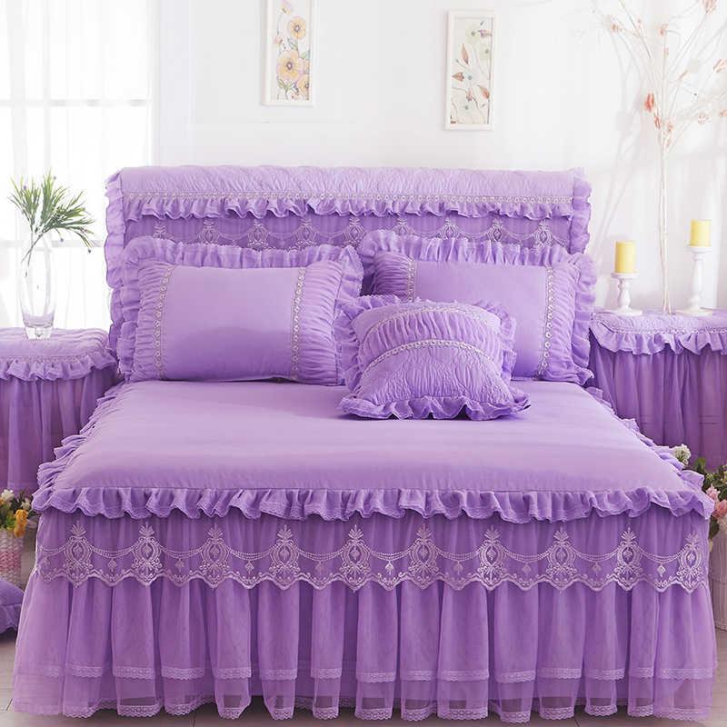 1 قطعة الدانتيل تنورة نوم + 2 قطع سادات طقم سرير الأميرة الفراش المفارش ورقة السرير لفتاة غطاء السرير الملك/الملكة حجم