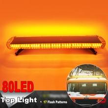 цена на Hytrading Car Strobe 80 LED Lights Emergency Recovery Beacon lamp Flashing Strobe Warning Light Bar Amber 12V/24V