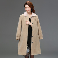Winter Women Real Coat Sheep Shearing Wool Womens Mink Fur Collar Jacket Warm Overcoat Abrigo Mujer 2231 YY460