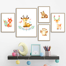 Cute Cartoon Deer owl Bear Fox Nursery Wall Art Canvas Painting Nordic Posters And Prints Wall Pictures For Baby Kids Room Decor цена и фото