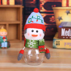 Christmas Snowman Transparent Plastic Candy Bottle Kids Birthday Candy Box Sweet Filler Storage Bottle For Xmas Party Gift Decor