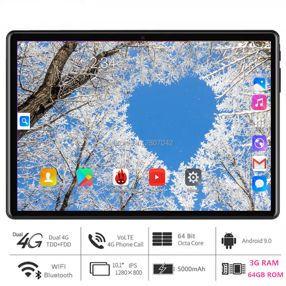 2020 Newest Tablet PC 10 Inch Android 9.0 Octa Core 3GB+64GB ROM 4G FDD LTE Dual SIM 2.5D Glass Screen WiFi Bluetooth GPS