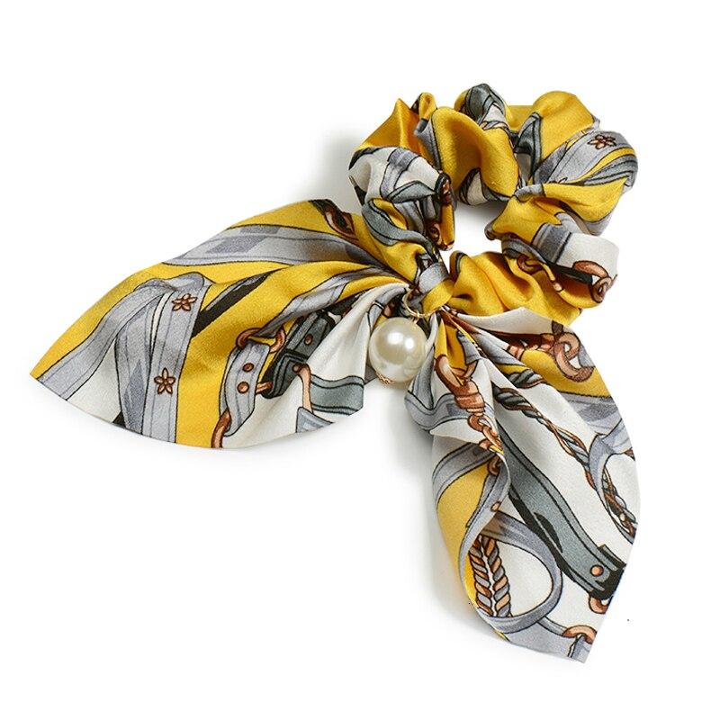 Mousseline de soie Cheveux Chouchous Femmes Mode Perle élastique pour queue de cheval Cheveux Cravate Cheveux Corde Élastiques Cheveux Accessoires couvre-chef en noeud 11