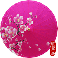 Chinese Japanese Oil Paper Umbrella Parasol Dancing Umbrellas Wooden Handle Craft Women's Umbrella for Wedding Decoration