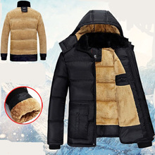Mens Winter Cotton Jacket Casual Loose with Velvet Parkas Hooded Coat Down Suit