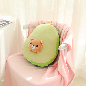 Image 5 - High Quality 3 in 1 Avocado Plush toy Stuffed Brown Bear Toy in Avocado Pillow with Coral fleece Blanket side School Nap Pillow