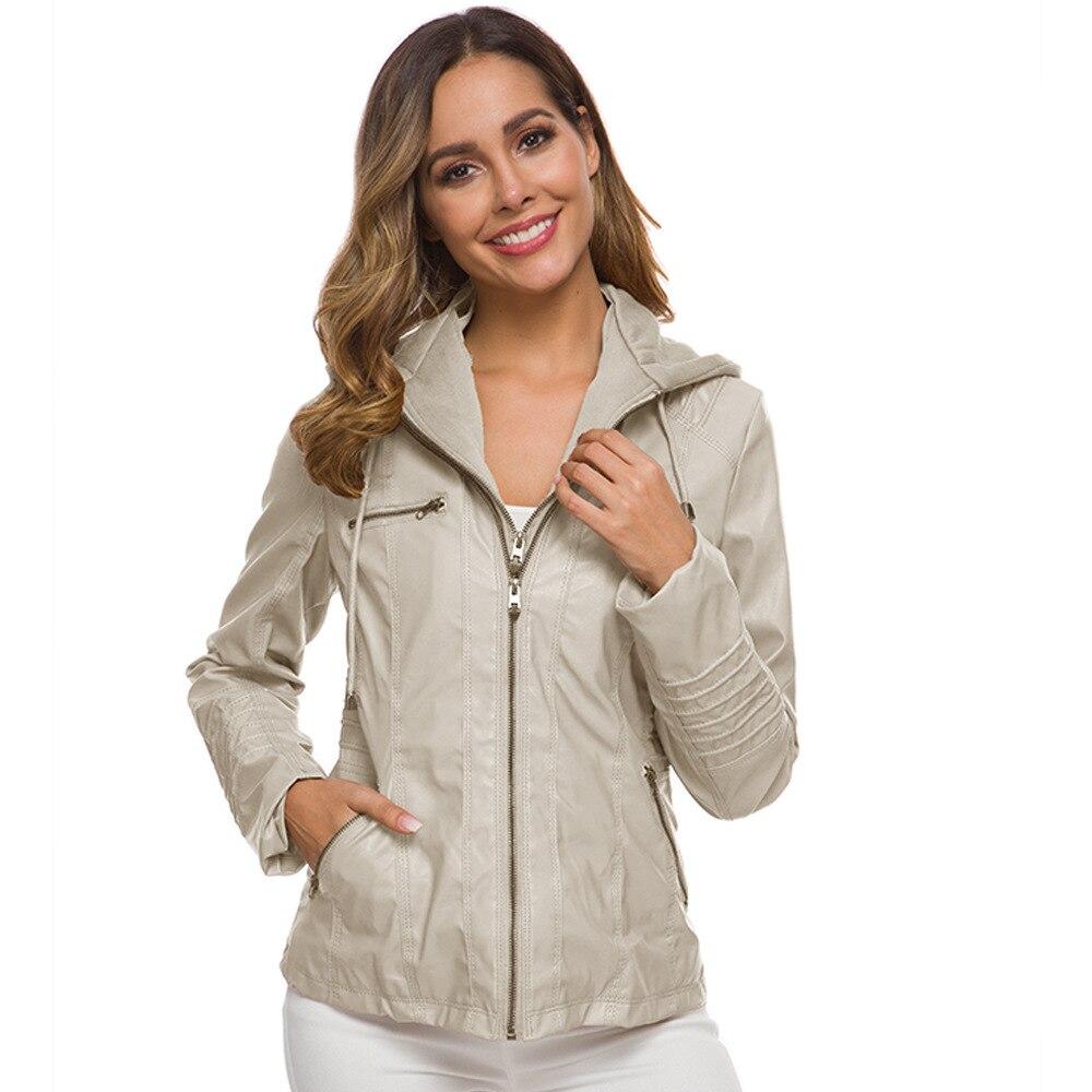 Fashion long sleeve zipper women's   leather   coat PU motorcycle jacket women's Faux   Leather   High Street moto jacket women 7XL