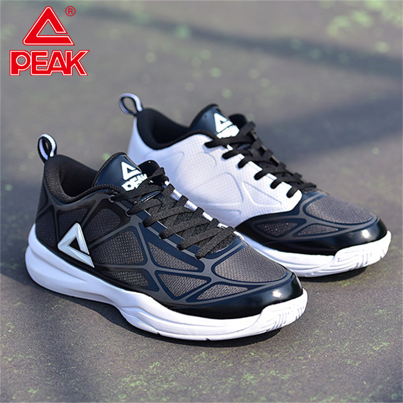 PEAK Men Basketball Shoes Lightweight Breathable Black Mesh Basketball Sneakers Cushion Wearable Low-Cap Sports Shoes