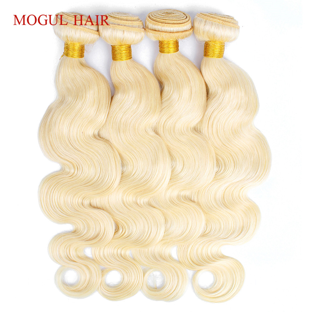 MOGUL HAIR Brazilian Body Wave Hair Weave Bundles Color 613 Platinum Blonde  Bundles 10-28 Inch Remy Human Hair Extension