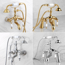 Shower Faucets Bathtub Mixer Black Golden Sink Basin Clawfoot Brass Tap-Tub Silver