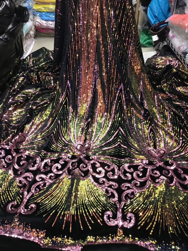 5 Yards Africa Lace Fabric With Sequins Nigerian Lace Fabrics African 2019 High Quality Tissue French Dry Mesh Lace For Sewing