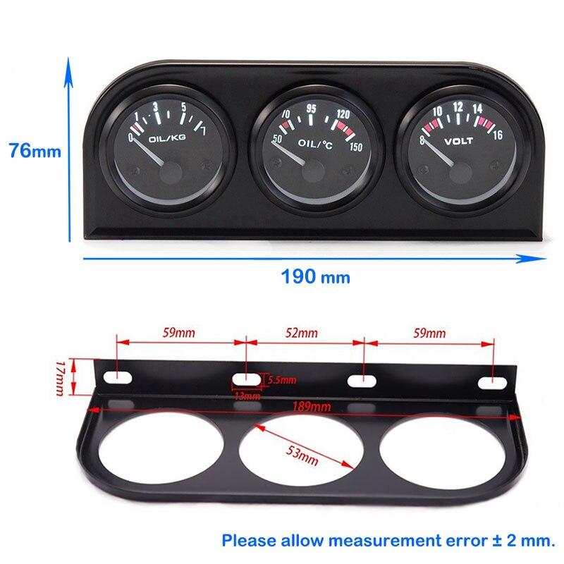 52 мм тройной набор датчик температуры воды/Температура масла/манометр масла/вольтметр для автомобиля 12V датчик 3in1 автогонок
