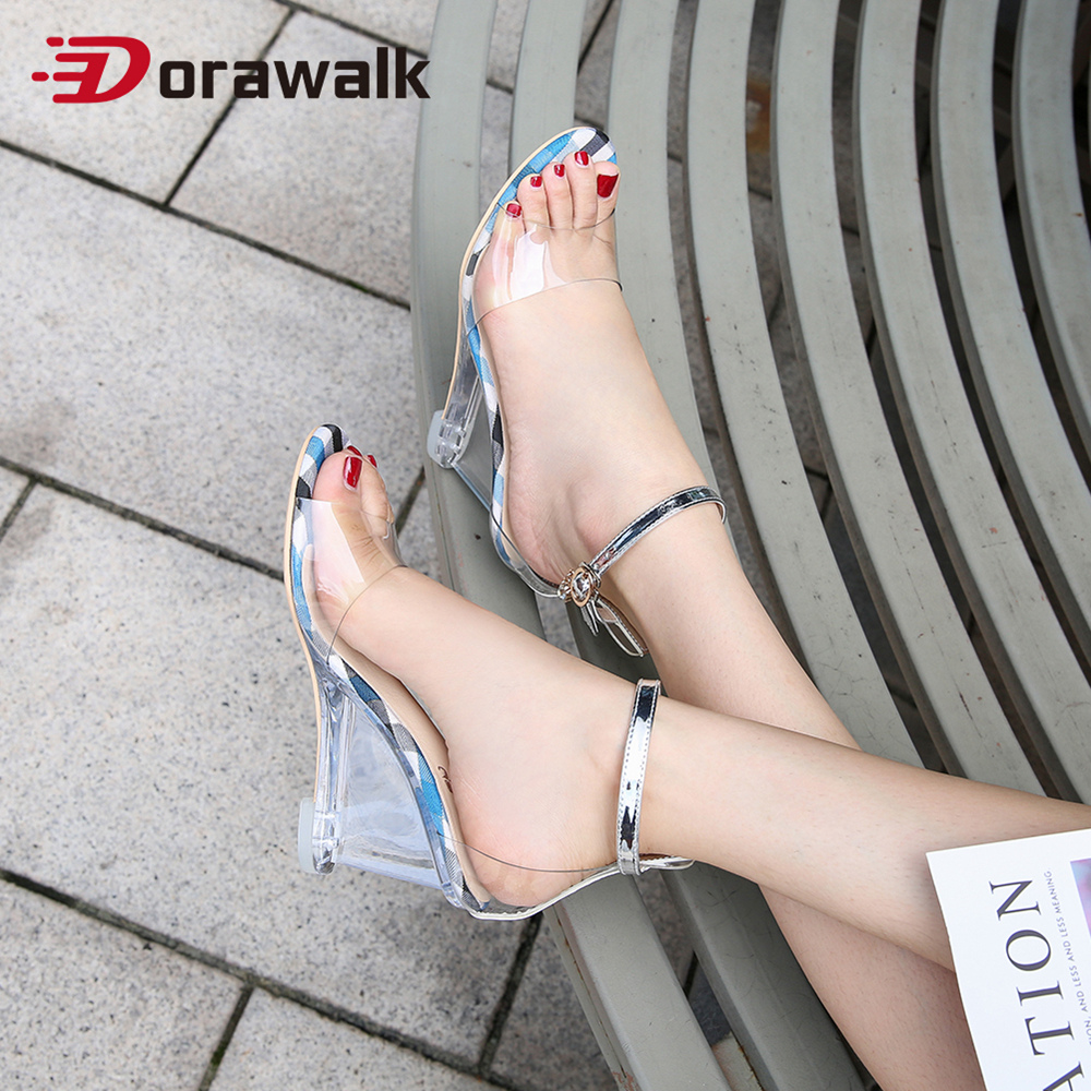 Dorawalk Clear PVC <font><b>Sandals</b></font> Woman Transparent Crystal <font><b>Sexy</b></font> <font><b>Women</b></font> Summer <font><b>Sandals</b></font> <font><b>Pumps</b></font> Wedge <font><b>Heels</b></font> Ladies <font><b>High</b></font> <font><b>Heel</b></font> Shoes Size 41 image