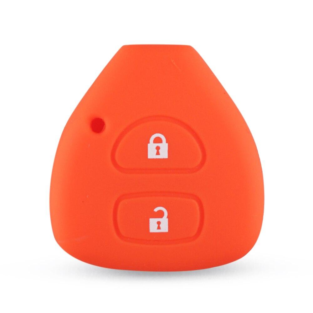 Dandkey силиконовый чехол держатель для Toyota Yaris Auris удаленный ключевой чехол 2 кнопки - Количество кнопок: orange