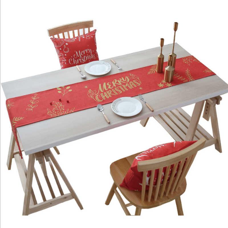 크리스마스 테이블 러너 현대 빨간 크리스마스 장식 홈 테이블 천으로 러너 럭셔리 다이닝 테이블 장식 그린 엘크 주자