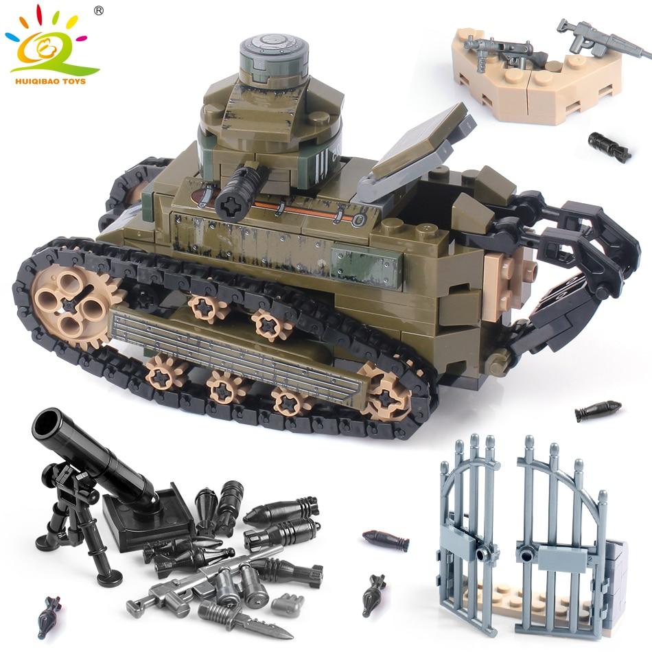 HUIQIBAO 368PCS WW2 Renault FT17 Tank Military Building Blocks Army Soldier Weapon figures man Bricks Toys for Children boys|Blocks|   - AliExpress