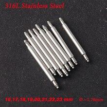 Diâmetro = 1.8mm 16/mm17mm/18mm/19mm/20/21/22/23/24mm 316l aço inoxidável pulseira de relógio mola barra ligação pinos removedor novo