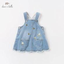Dbm12843 dave bella primavera infantil do bebê meninas floral bolsos vestido lolita festa suspensórios vestido criança crianças roupas
