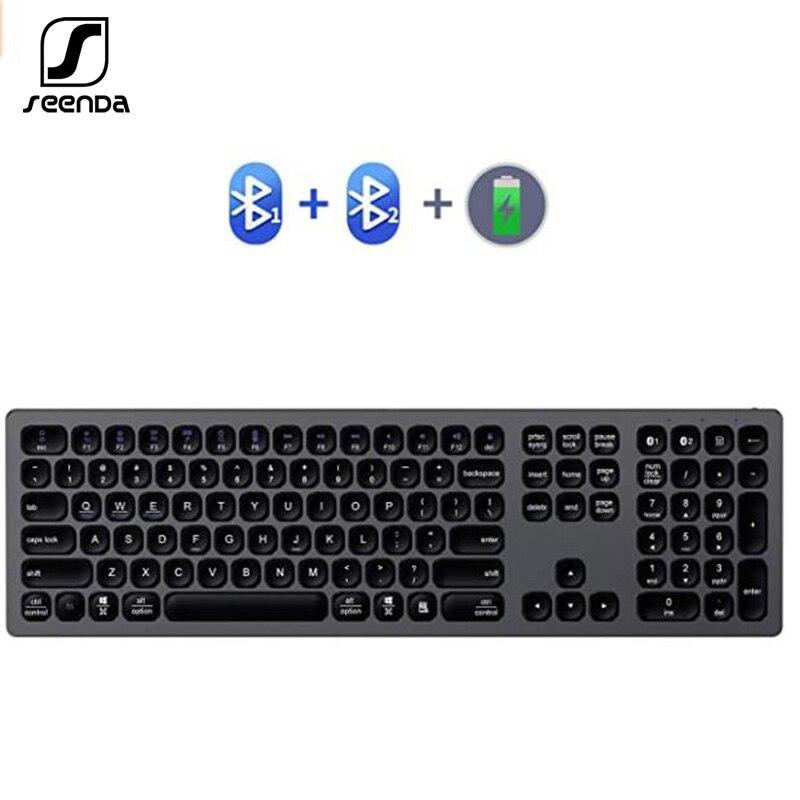 SeenDa Bluetooth Keyboard Multi-Device Rechargeable Bluetooth Keyboard Aluminum Wireless Type-C Rechargeable Keyboard