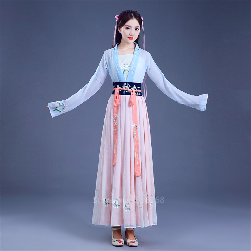 Traditional Chinese New Year Hanfu Women Fairy Dress Folk Dance Embroidery Party Stage Performance Princess Ancient Costumes