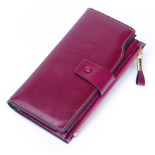 women wallets RFID Blocking Wax Genuine Leather Business Clutch Wallet Multi Card Organizer pulp fiction  inuyasha