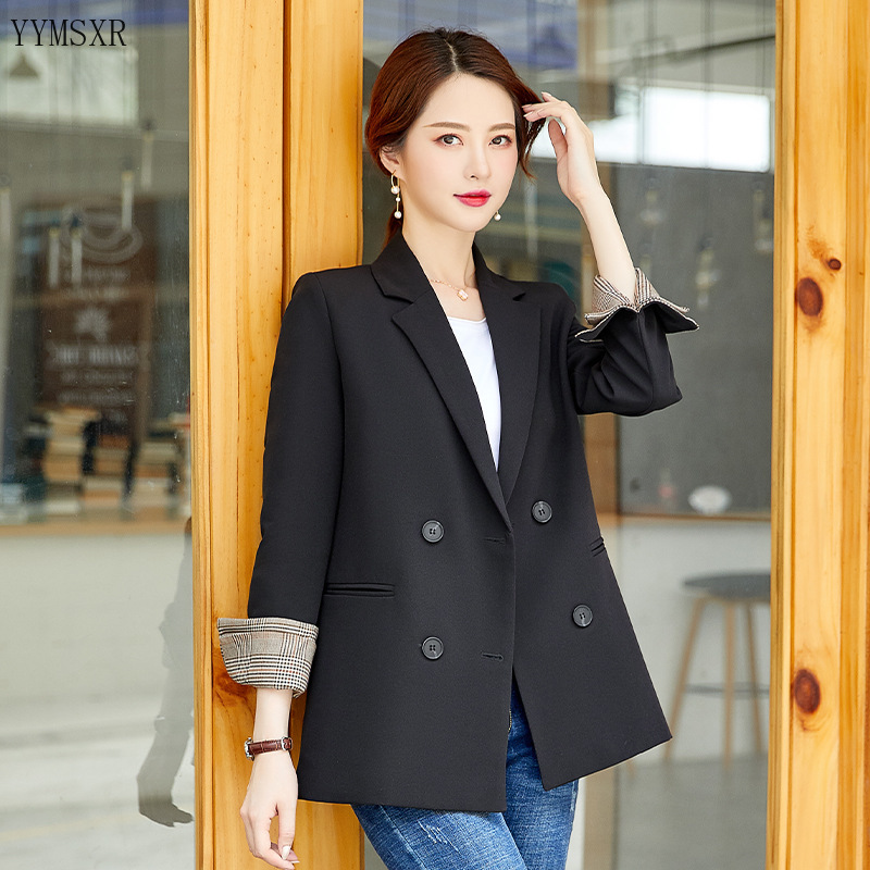 Womanish jacket coat 2020 Korean new style loose temperament black women's blazer Casual small suit high quality Female