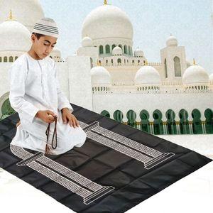 Image 2 - Draagbare Moslim Gebedskleed Waterdichte Pu Gevlochten Mat Gewoon Print Pouch Reizen Thuis Deken 60x100CM