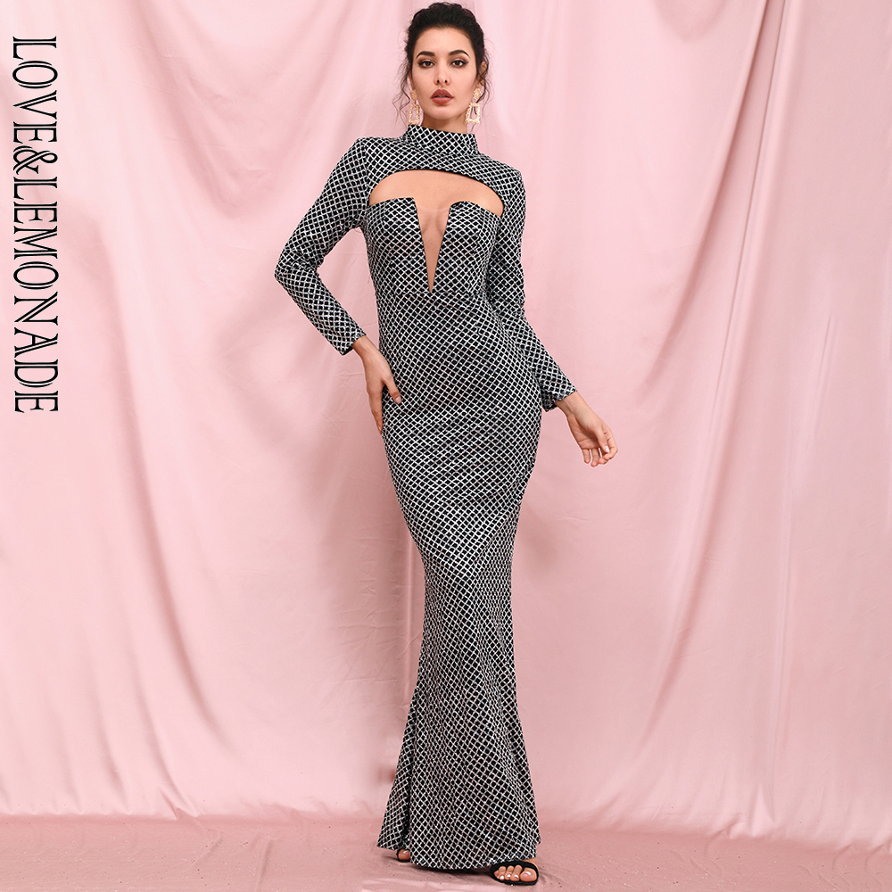 LOVE & LEMONADE Sexy Cut Out  Silver Plaid Glitter Glue Material Bodycon Long Sleeve Party Maxi Dress LM82286