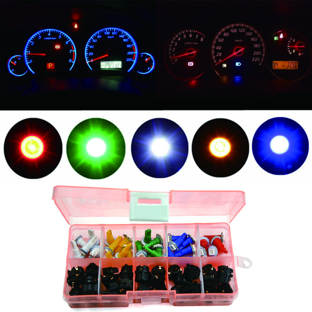 30 Sets Car Auto PC74 T5 LED Twist Socket Instrument Panel Cluster Plug Dash Light mix Bulb Green Red Blue White yellow in Signal Lamp from Automobiles Motorcycles