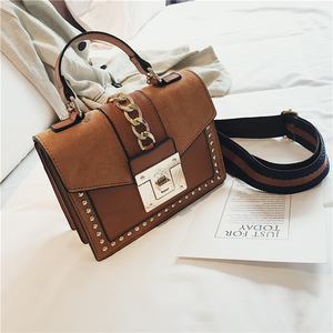 Image 1 - Small Handbags Fashion Shoulder Bags for Women 2020 Frosted PU Leather Hand Bags Rivet Chain Flap Ladies Crossbody Bag Red Brown
