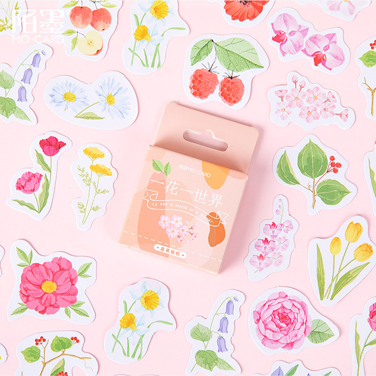46 Pcs To See A World In A Flower Paper Small Diary Mini Cute Box Plant Stickers Set Scrapbooking Cute Flakes Journal Stationery
