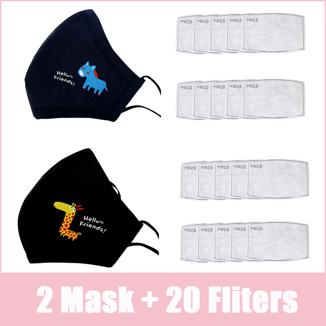 PM2.5 Kids Adult Face Mask Cute Mouth Mask Activated Carbon Filter Children Washable Reusable Cloth Fabric Cotton Masks Pink