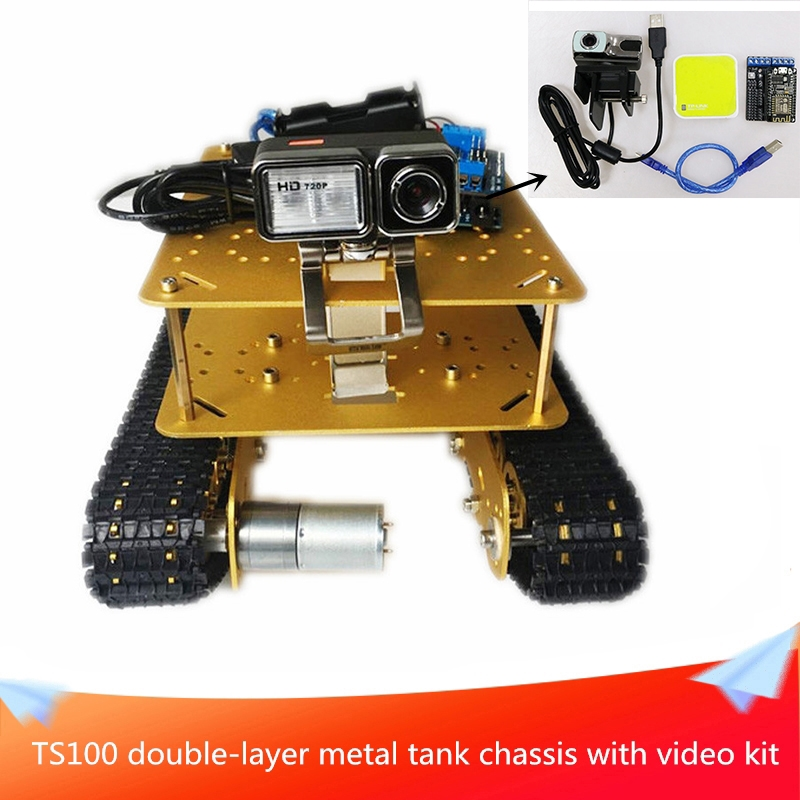 <font><b>TS100</b></font> Double-layer Metal Shock-absorbing <font><b>Tank</b></font> Chassis+Video Kit Send DC Motor Installation Tools DIY Mobile Handling Platform image