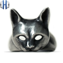 22mm Original Design Handmade Silver Charm Cat Ring 925 Personality Wild Open Kitten