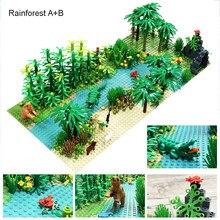 Selva baseplates bloco de construção floresta tropical florestas tropicais com planta e animal para moc nenhuma figura tamanho 32x32