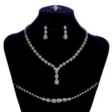 Jewelry Sets HADIYANA Simple Waterdrop Temperament Women Wedding Necklace Earrings Ring And Bracelet Set CN150 Conjunto de joyas