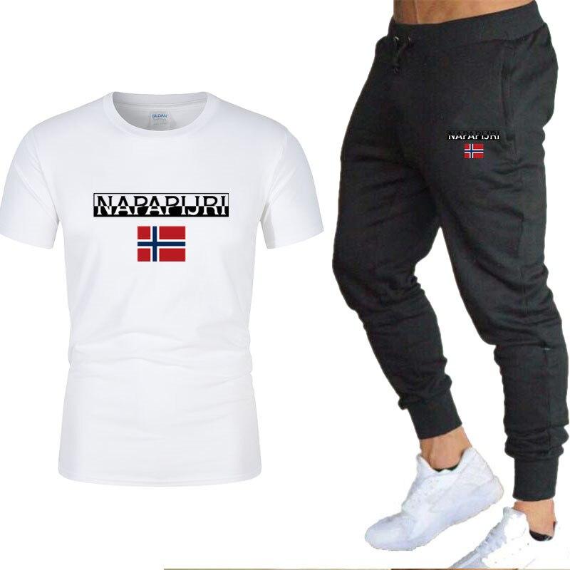 2020 Tracksuit Male  Men Clothing Sportswear Set Fitness Summer Print Men T Shirt + Trousers Men's Suit 2 Pieces Sets 2XL