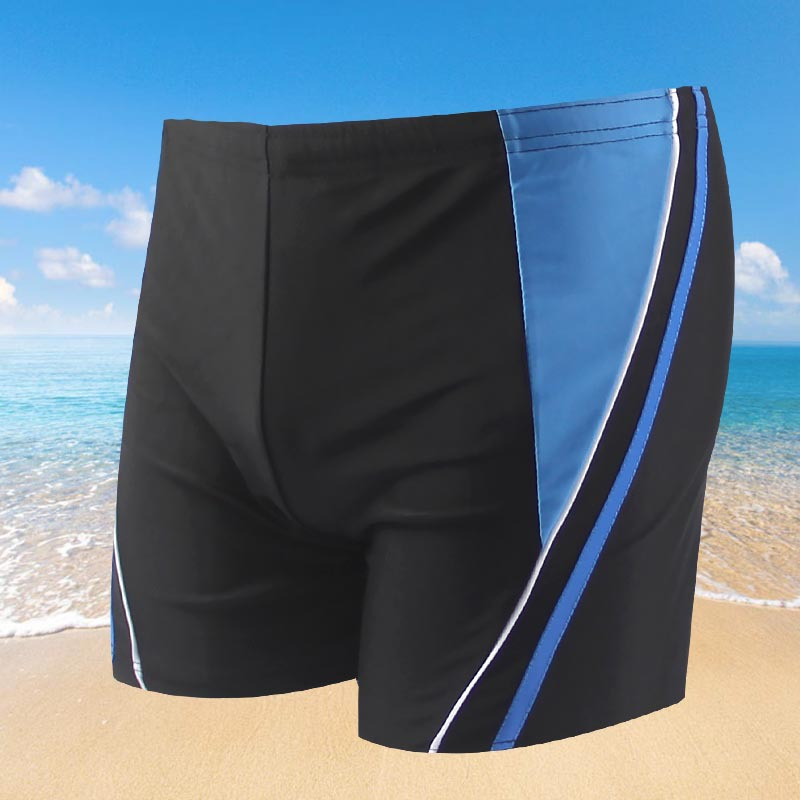 New Style Plus-sized MEN'S Swimming Trunks Stripes Men Adult Boxer Large Size Swimming Trunks Blue Bathing Suit