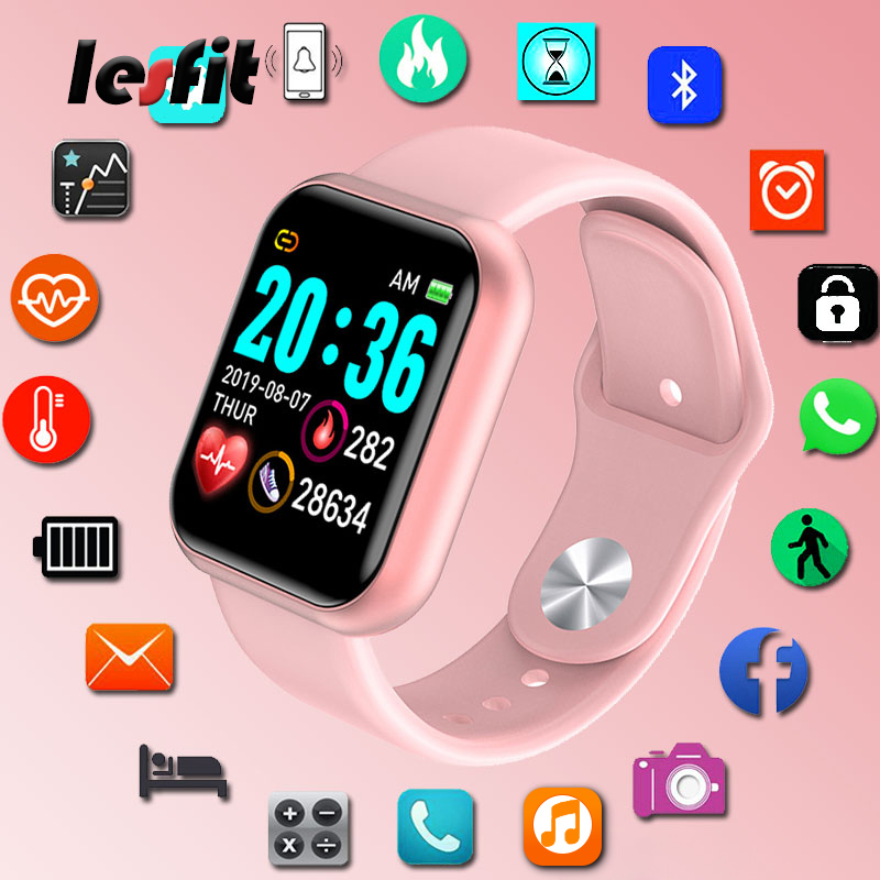 Lesfit Y68 Waterproof Pink Digital Smart Watch Women Smartwatch Wristbands Digital Clock Monitor HR/BP Rate Electronic Pedometer