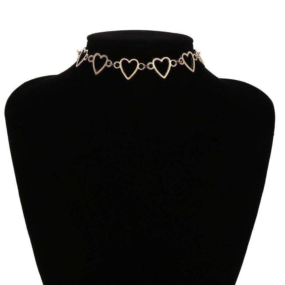 Ingemark Korean Sweet Love Heart Choker Necklace Statement Girlfriend Gift Cute Gold Silver Necklace Jewelry Collier Femme 18 9