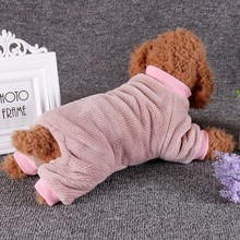 S-2XL Soft Fleece Dog Jumpsuit Winter Casual Home Wear Clothes Puppy Coat Pet 4-legged Outfits Warm Hoodie Clothing