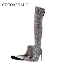 KEAIQIANJIN Autumn Winter Women's Over The Knee Boots Woman High High Boots Snakeskin Pattern Fashion Sexy Over The Knee Boots(China)