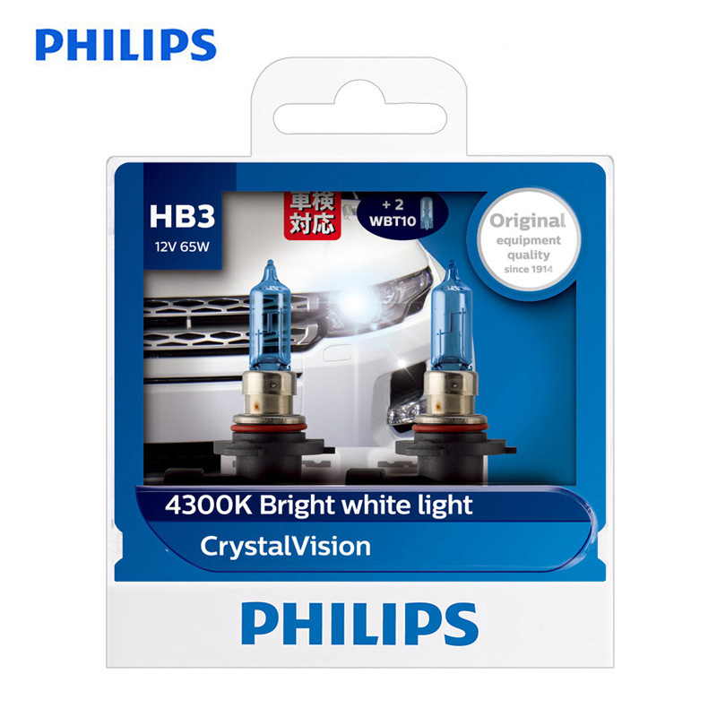 Philips Car-Headlight Crystal-Vision Halogen 4300K HB3 9005 12V 60W Uv-Resistant 9005cvsm-Pair