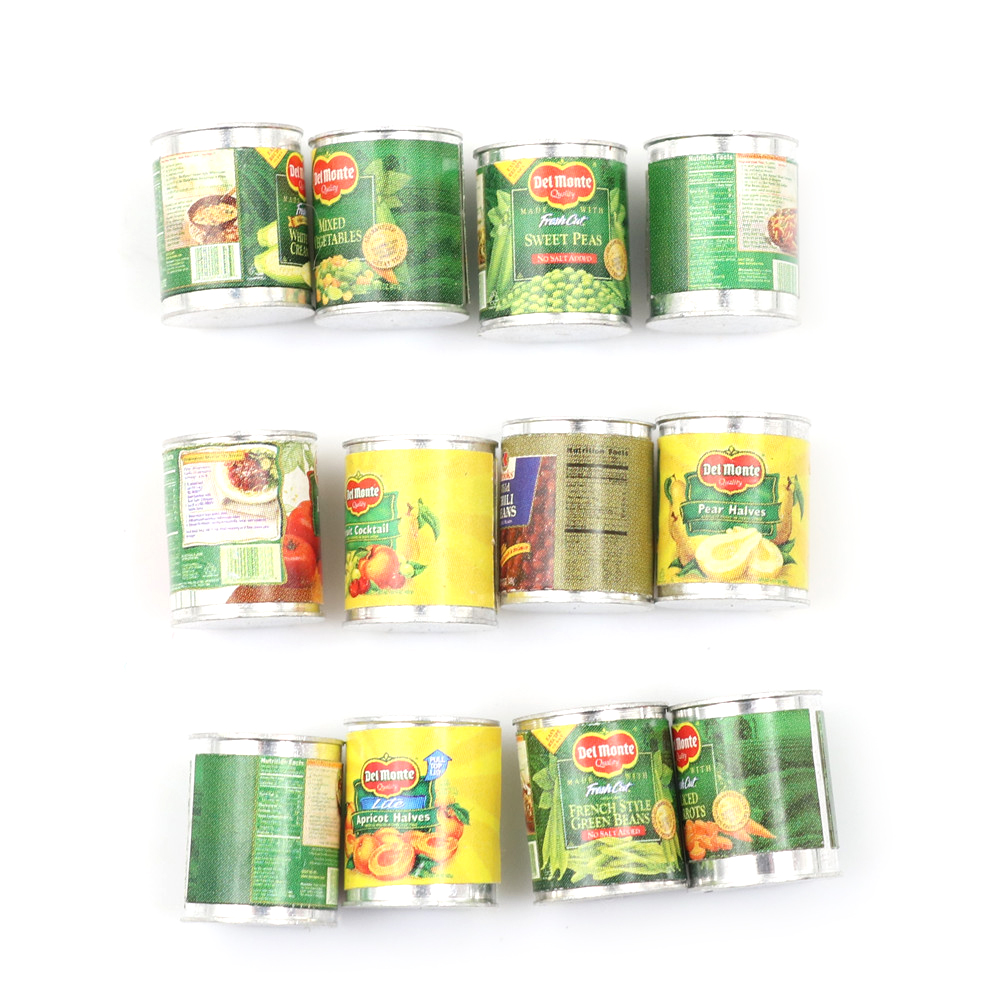 1:12 Doll House Accessories Mini Canned Fruit 12 Cans Miniature Food Play Kitchen Doll Food Accessories Toy