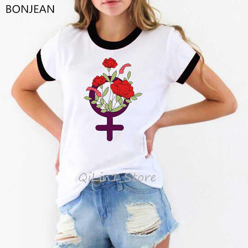 Keren Anak Perempuan Feminis T Shirt Femme Harajuku Punk Kemeja Camisetas Mujer Streetwear Lucu Grafis Kaos Tumblr Pakaian Atasan