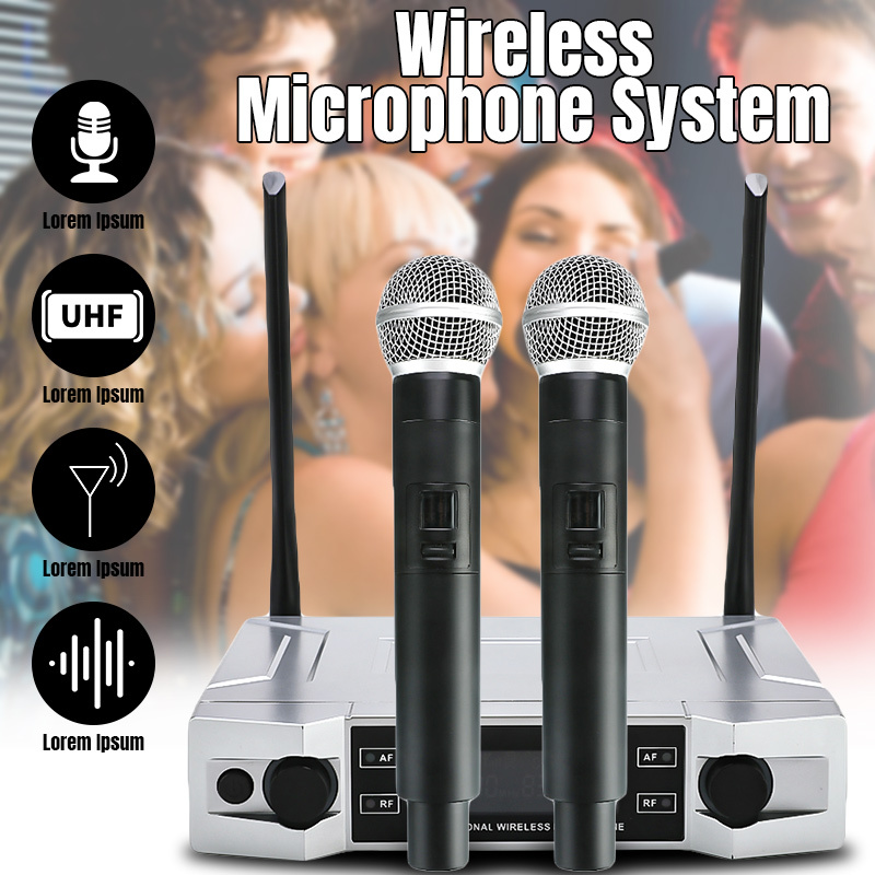 Écran LCD professionnel de système de Microphone de karaoké sans fil d'uhf avec le double micro tenu dans la main pour le KTV de partie